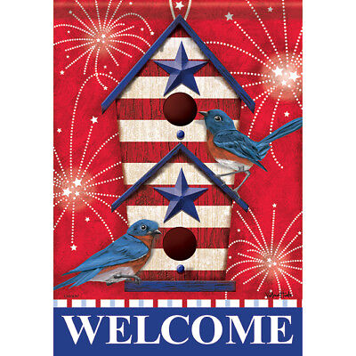 """Bluebird Fireworks 4th of July House Flag  28"""" x 40"""" Double sided Flag by Carson"""
