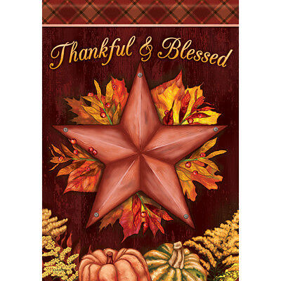 """Thanksgiving Barn Star House Flag  28"""" x 40"""" Double sided"""