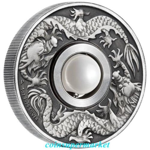 2017 The Unique Dragon And Pearl 1oz Silver Antique Coin From The Perth Mint OGP