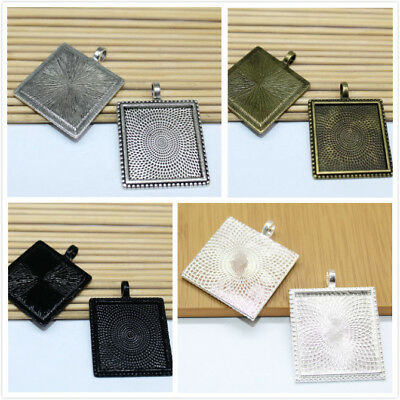 4/20pcs Pendant Trays,25mm Square Cabochon Base Setting Blank Bezel Frame (25 Mm Square Bezel)