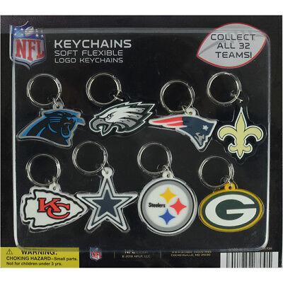 NFL LOGO KEYCHAIN 2D FLEXIBLE SOFT PVC  KEY RING COWBOYS STEELERS PATRIOTS RAMS (Patriots Keychain)