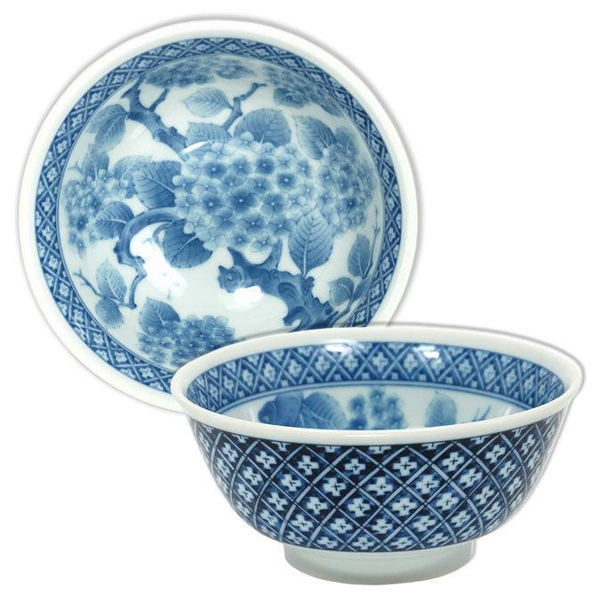 "Japanese Chinese Rice Soup Bowl 6""D Porcelain Blue White Ajisai Made in Japan"