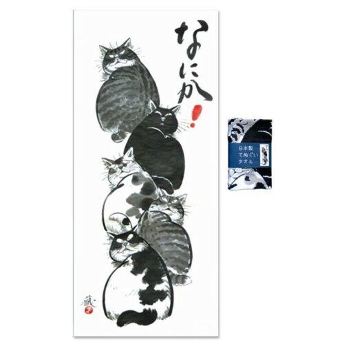 "Japanese Cotton Tenugui Headband Hand Towel Bento Cloth Nanika Cats 32"" x 13.5"""