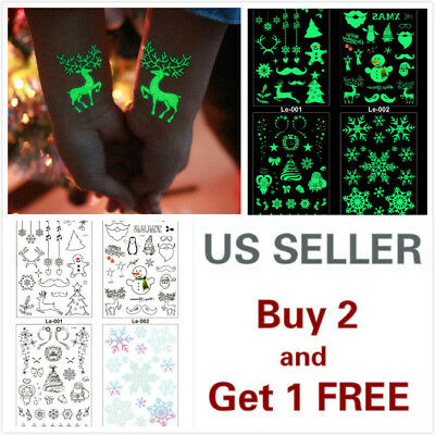 Waterproof Luminous Christmas Art Fake Body Temporary Tattoo Stickers Removable  (Christmas Tattoos)