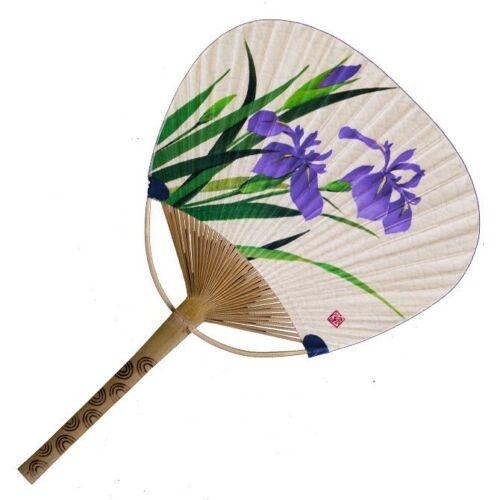 Japanese Uchiwa Flat Fan Hand Held Bamboo Handle Purple Iris Made in Japan