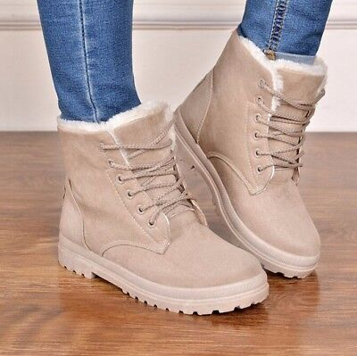 Womens Winter Warm Casual Faux Suede Fur Lace-up Ankle Boots Snow Bootie Shoes @ ()