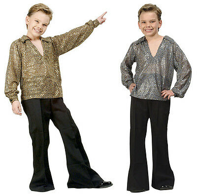70s Costumes For Boys (1970S 70'S DISCO FEVER CHILD BOY COSTUME GOLD SILVER SEQUIN SHIRT COSTUMES)