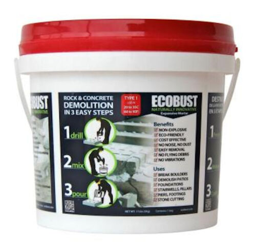 ECOBUST Type 1  (68F - 95F) ROCK & CONCRETE DEMOLITION AGENT Expansive Mortar
