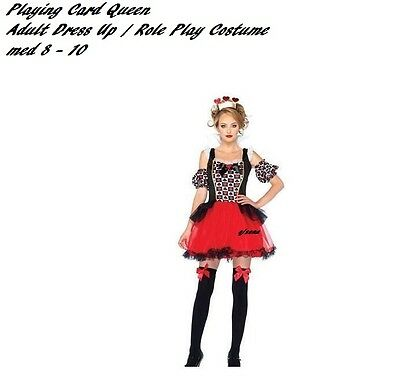 Playing Card Queen Adult Dress Up / Role Play Costume   med 8 - 10