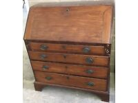 Antique Georgian mahogany writing desk bureau chest of drawers draws