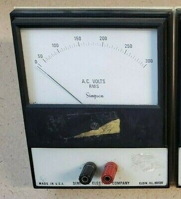 Ac Volts Rms Simpson Electric Company Analog Volt Meter 0-300 Panel Meter Tested