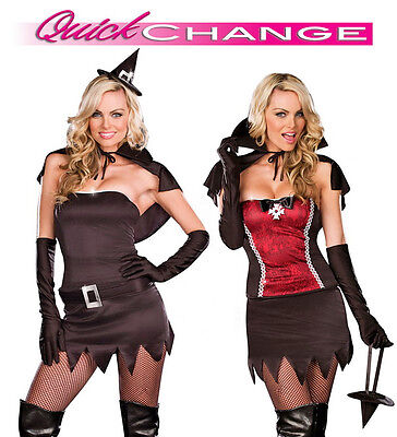 Witching Hour Quick Change Witch to Vampire Costume, Dreamgirl 7530, S, M, L, - Quick Vampir Kostüm
