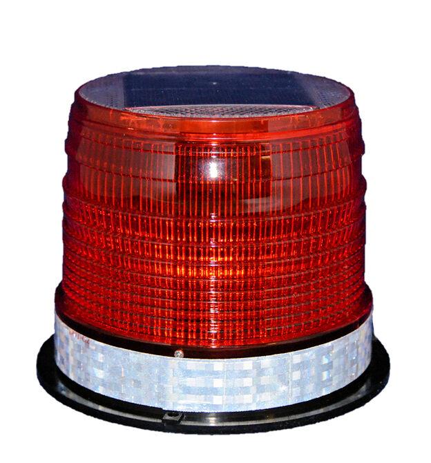 S8LM RED SOLAR LED LARGE FLASHING BEACON Marine Dock Barge Tower Crane Safety