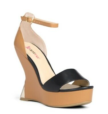 Justfab  49  Caden  Sculpted Wedge Platform W  Gold Accents Size 8  New   Boxed