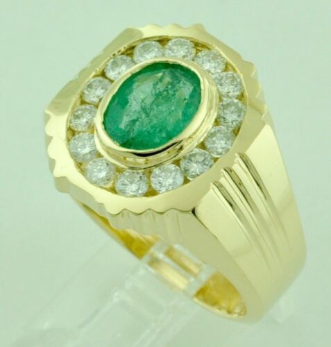 2.67 Ct 14k Solid Yellow Gold Mens Natural Diamond Oval Emerald Ring