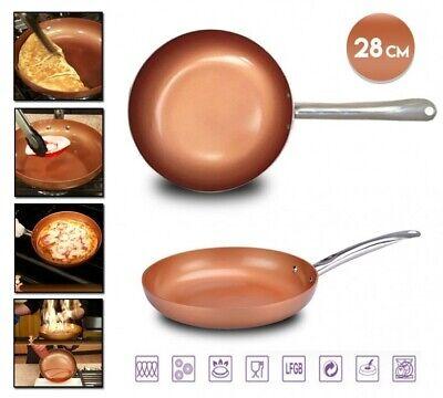 Sarten antiadherente cerámica color cobre inducción 28cm vitroceramica fuego