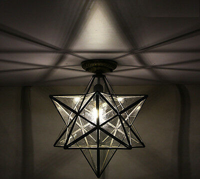Crystal Glass Moravian Star Ceiling Wall Lamp Flush Mount Iron Lighting Lamps