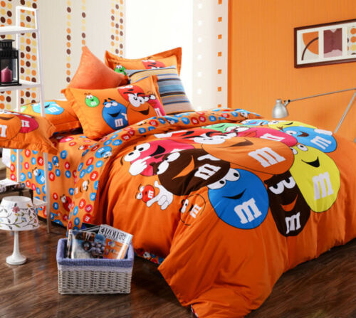 M & M Cartoon QUEEN SIZE ORANGE Color BED SHEET 4PCS COTTON Bedding SET