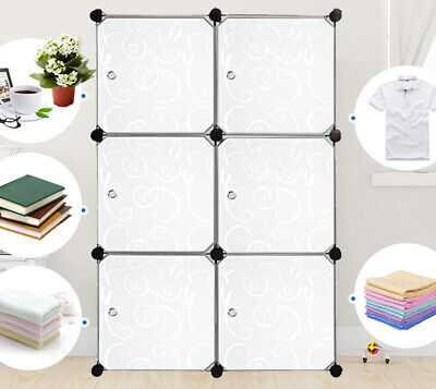 DIY Kleiderschrank Kunststoff Standregal Schrank Regalsystem Garderobe mit Türen (Garderobe Mit Regal)