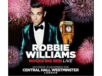 Robbie rocks Big Ben views balcony seats Available in pairs £175 each