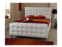 White faux leather diamante bed frame single