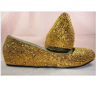 New Gold Slip on Czech Crystal NG Shoes RRP $230