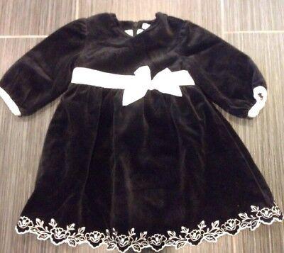 RARE JANIE AND JACK 6-12 AROUND TOWN BLACK VELVET DRESS ()