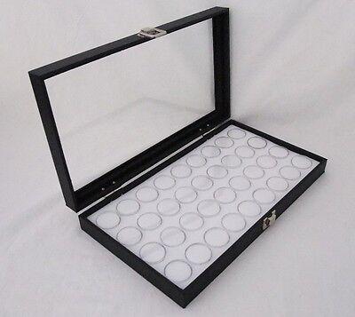 Glass Top Jewelry Display With 36 Round Gem Jars Wht