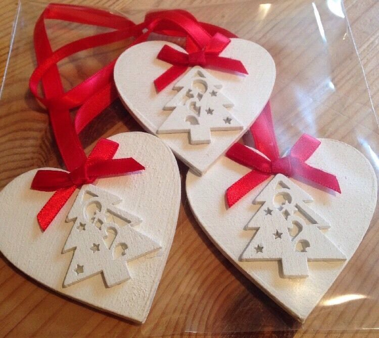 3 x handmade christmas decorations shabby chic christmas for Homemade christmas decorations uk