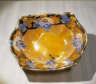 Stunning Turkey Cobalt Blue Gold Yellow Floral Bowl Signed Hand Painted