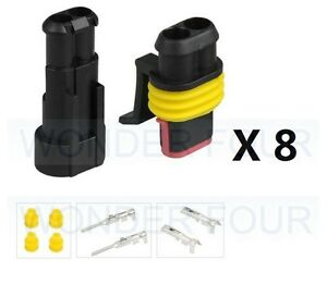 8x Kits 1.5MM 2 WAY Waterproof Auto Marine Electrical Sealed Wire Connector Plug