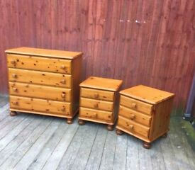 Lovely DUCAL Solid Pine 3 Pieces Set Of Beedrom Furniture - Free Delivery In Southampton