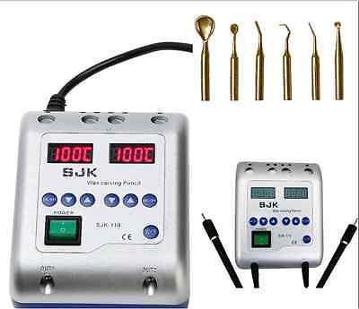 Dental Lab Equipment Electric Waxer Wax Knife Carving Double Pen 6 Pot Tips Best