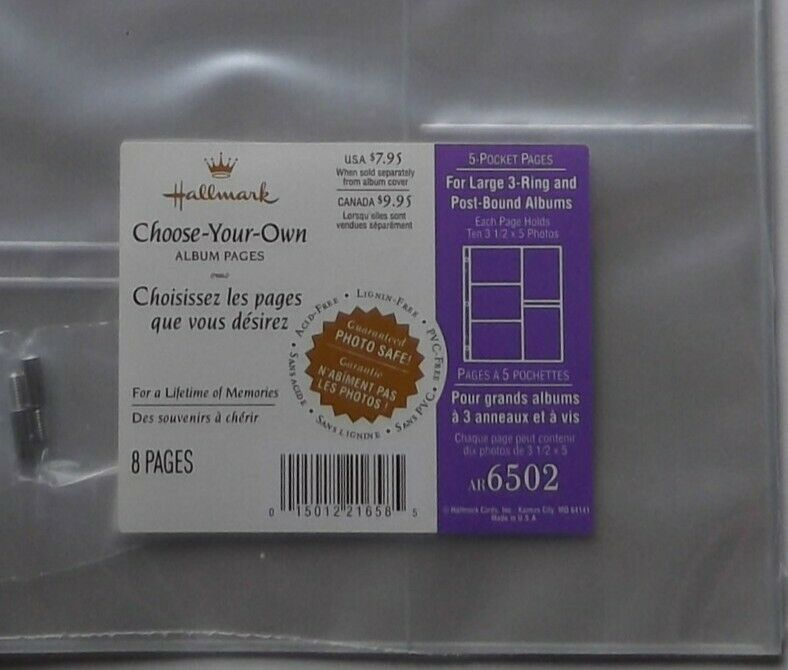 Hallmark AR6502 5 Pocket Pages Refill Large 3 Ring Post Bound 8 Pages 3.5 X 5