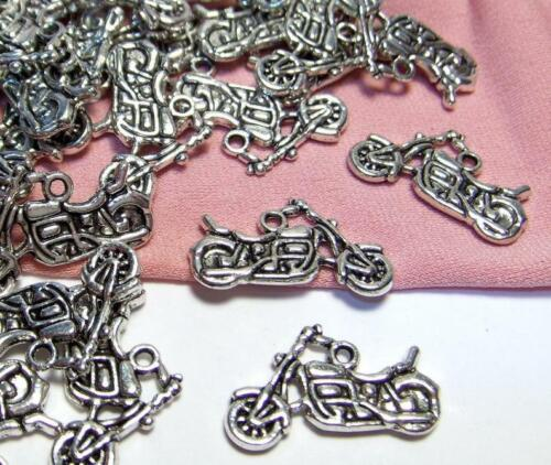 12 SILVER MOTORCYCLE CHARMS-BIKER-CHOPPER-JEWELRY DROPS-$30 ORDERS SHIP FOR FREE
