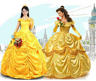 Adult Beauty and The Beast Princess Belle Cosplay Costume Ball Gown Fancy Dress (Beauty And The Beast Costumes Adults)