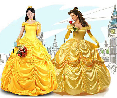 Adult Belle Dress (Adult Beauty and The Beast Princess Belle Cosplay Costume Ball Gown Fancy)