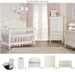 Aurora 5 morceaux: Lit de bébé convertible 4 en 1 + bureau double + bureau 5 tiroirs + matelas Peaceful Night + Chaise b