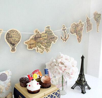 Retro Stil Banner Girlande Weltkarte Abenteuer Reise für Thema Party Decoration (Reisen, Party Thema)