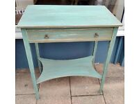wo-tier Console table with single drawer painted in Autentico Antique Turquoise