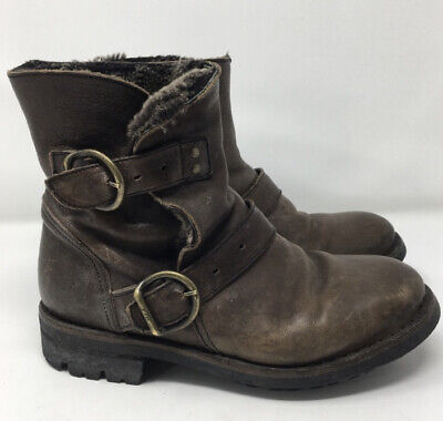 Fiorentini and Baker Fur Lined Brown Leather Booties w/buckles size 7