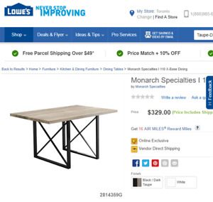 Taupe Dining Table - New in Box (YOU SAVE $130)