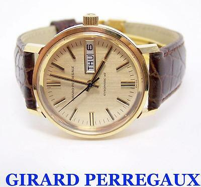 Solid 18K GIRARD PERREGAUX DAY DATE Mens Automatic Watch c.1970s* EXLNT SERVICED