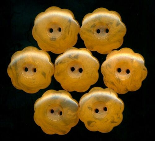 Set of 8 Small Bakelite Flower Head Buttons…Butterscotch