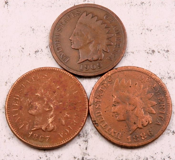 1867 1886 1909 Indian Head Penny Cent Set-Lot // AU-VG // 3 Coins IL291  - $19.49