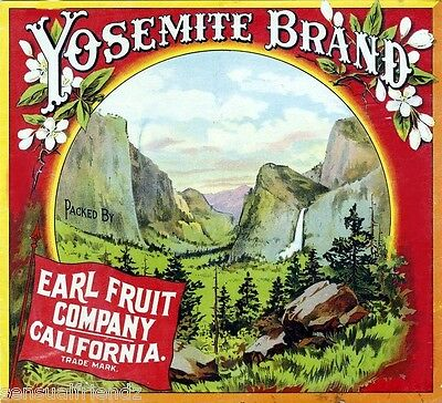 Yosemite Orange Citrus Fruit Crate Label Art Print Earl Fruit  California  (California Orange Crate Label)