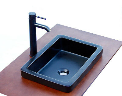 Bathroom SR-7444/E03 Semi-Recessed Matte Black Ceramic Vessel Sink Bronze Faucet