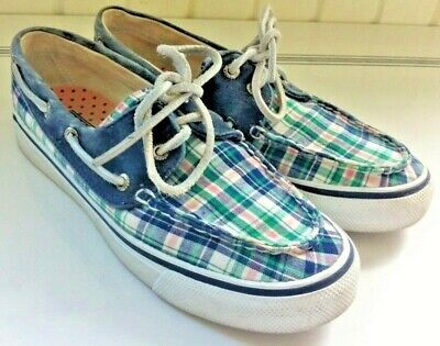 SPERRY 'Biscayne' Size 6M Washed Navy & Plaid 2-Eye Boat (Sperry Top Sider Plaid Washed Canvas Boat Shoe)