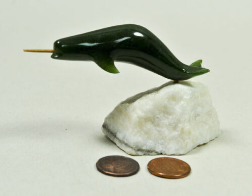 Vintage NARWHAL Sculpture on marble base.  Jade? Jadeite?  Whale