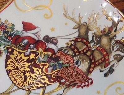 Set 4 New Williams Sonoma Twas Night Before Christmas Santa Sleigh Salad Plates